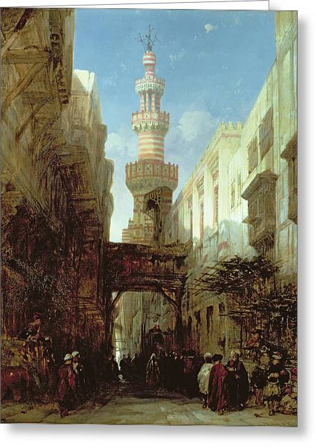 Orientalist Greeting Cards - Street In Cairo, 1846 Greeting Card by David Roberts