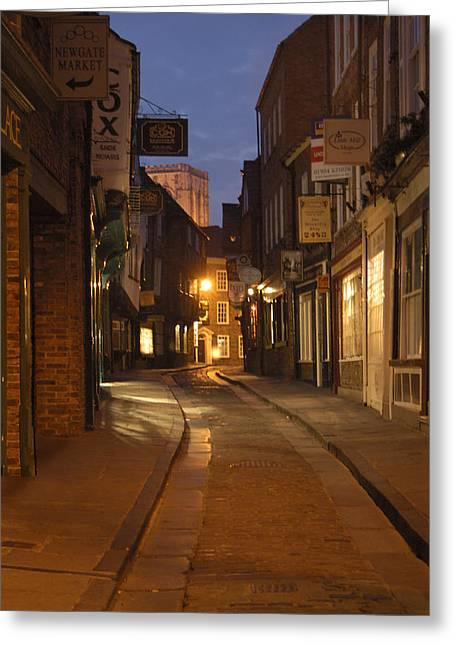 Night Scenes Greeting Cards - Street in Cork - England Greeting Card by Mike McGlothlen