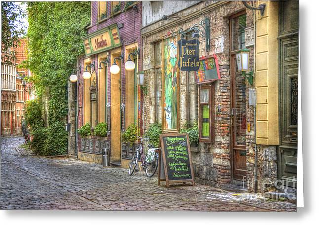Picturesque Greeting Cards - Street in Ghent Greeting Card by Juli Scalzi