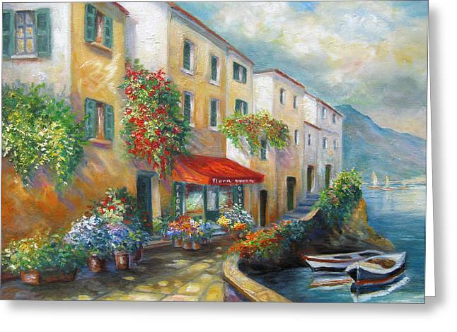 Italian Landscapes Greeting Cards - Street in Italy by the Sea Greeting Card by Gina Femrite