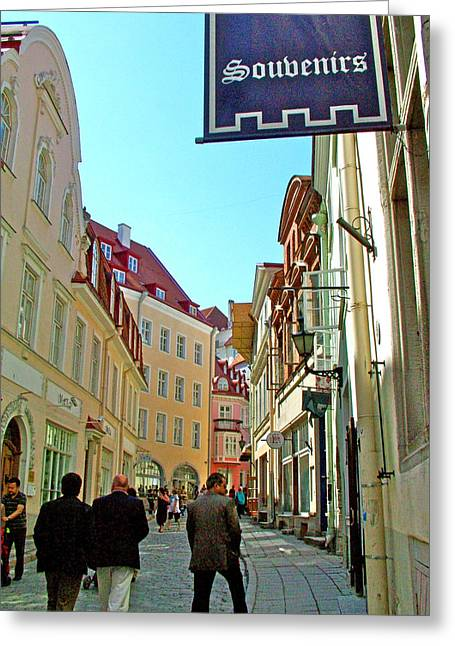 Tallinn Digital Greeting Cards - Street in Old Town Tallinn-Estonia Greeting Card by Ruth Hager