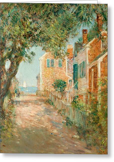 Brick Streets Greeting Cards - Street in Provincetown Greeting Card by  Childe Hassam
