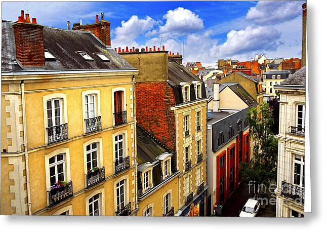 Rooftop Photographs Greeting Cards - Street in Rennes Greeting Card by Elena Elisseeva