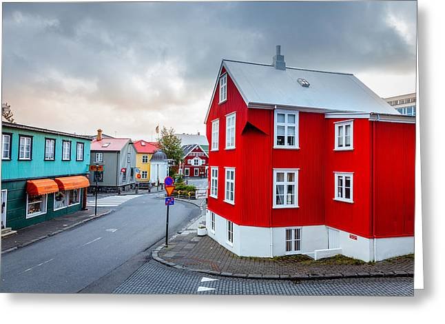 Center City Greeting Cards - Street in Reykjavik Greeting Card by Alexey Stiop