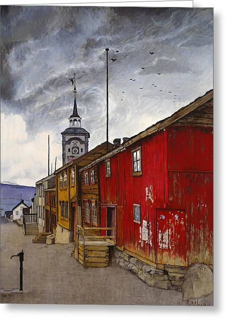 Wooden Building Paintings Greeting Cards - Street in Roros Greeting Card by Harald Sohlbert
