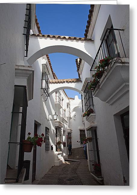 Historic Home Greeting Cards - Street in Spanish Village in Barcelona Greeting Card by Artur Bogacki