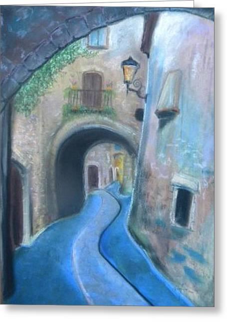 Street Art Pastels Greeting Cards - Street in Toscana Greeting Card by Igor Kotnik