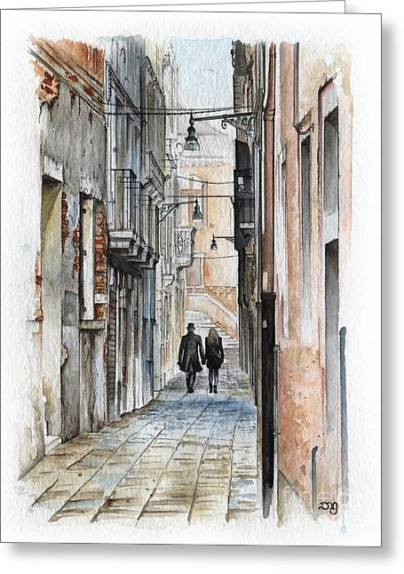 Street In Venice - Watercolor - Yakubovich Greeting Card by Daniel Yakubovich