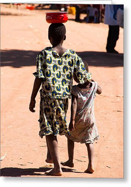 Geobob Greeting Cards - Street Kids Kiubo Falls Katanga Congo Greeting Card by Robert Ford