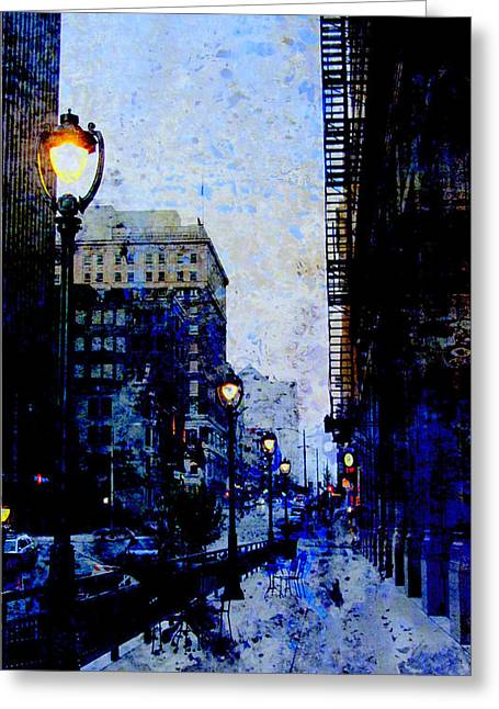 Riverwalk Greeting Cards - Street Lamp and Blue Abstract Painting Greeting Card by Anita Burgermeister