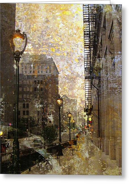 Riverwalk Greeting Cards - Street Lamp and Gold Metallic Painting Greeting Card by Anita Burgermeister