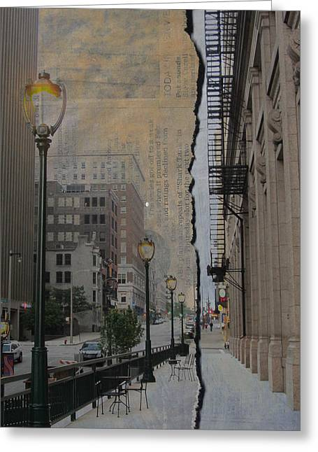 Riverwalk Greeting Cards - Street Lamp and Painted Newspaper Greeting Card by Anita Burgermeister