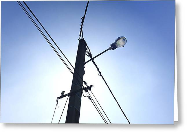 Street Lamp And Power Lines Greeting Card by Bernard Jaubert