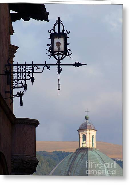 Lamp Worked Greeting Cards - Street Lamp, Assisi Greeting Card by Tim Holt
