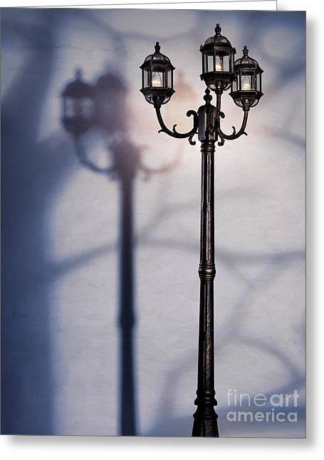 Night Lamp Greeting Cards - Street lamp at night Greeting Card by Oleksiy Maksymenko