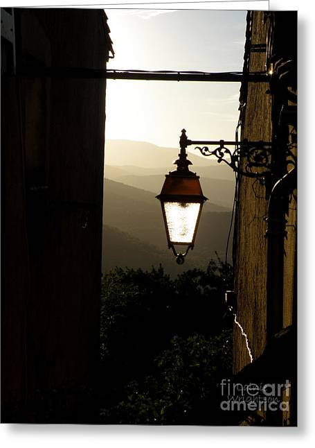Provence Village Greeting Cards - Street Lamp at Sunset Greeting Card by Lainie Wrightson