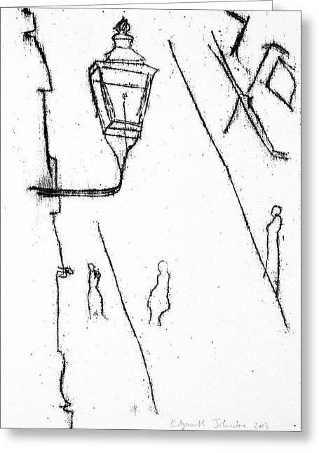Streetlamp Drawings Greeting Cards - Street Lamp Greeting Card by Anon Artist