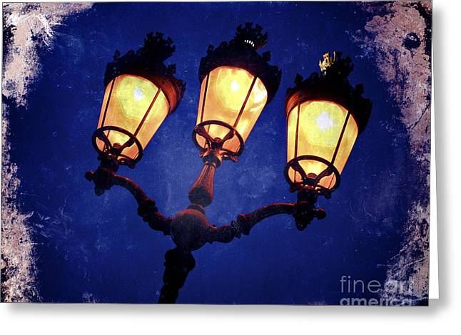 Old Street Photographs Greeting Cards - Street lamp illuminated - art effect image Greeting Card by Bernard Jaubert