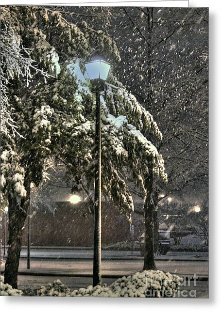 Snowy Night Night Greeting Cards - Street Lamp in the Snow Greeting Card by Benanne Stiens
