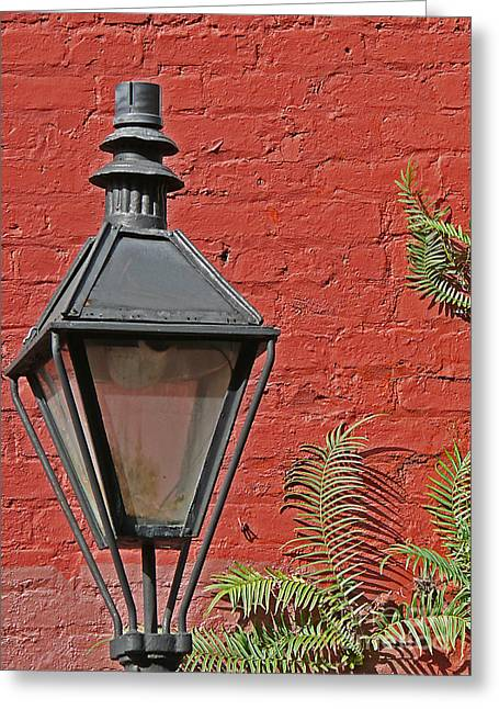 Photographs With Red. Greeting Cards - Street Lamp Greeting Card by Jeanne  Woods