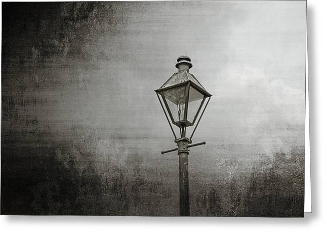 Street Lamp on the River Greeting Card by Brenda Bryant