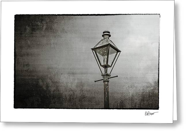 Street Lamp On The River In Black And White Greeting Card by Brenda Bryant