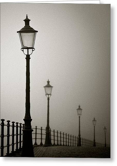 Street Lamps Greeting Card by Dave Bowman