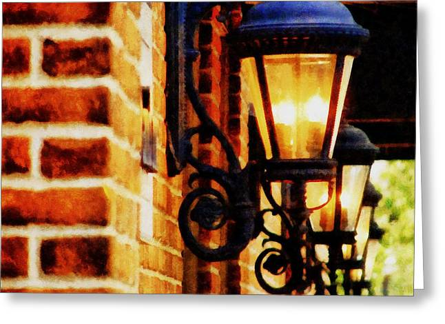 Storefront Digital Greeting Cards - Street Lamps in Olde Town Greeting Card by Michelle Calkins