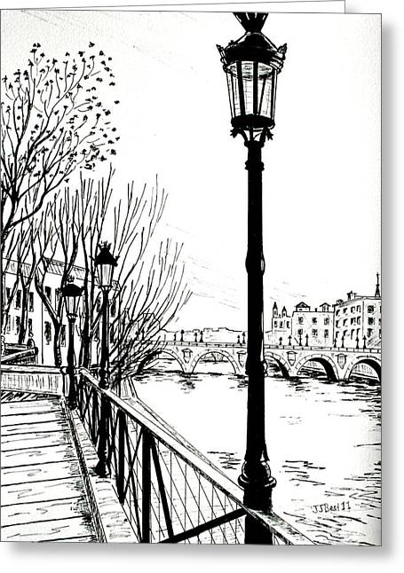 Streetlamp Drawings Greeting Cards - Street lamps in Paris Greeting Card by Janice Best