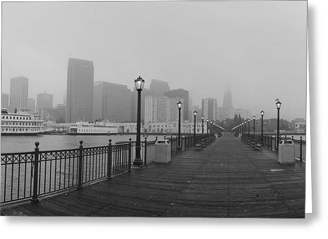 Boats In Water Greeting Cards - Street Lamps On A Bridge, San Greeting Card by Panoramic Images