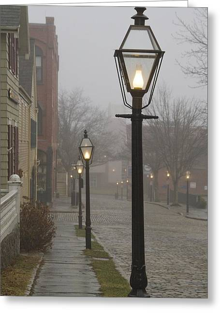 Bedford Hills Greeting Cards - Street lamps on Johnny Cake Hill Greeting Card by Paul and Janice Russell