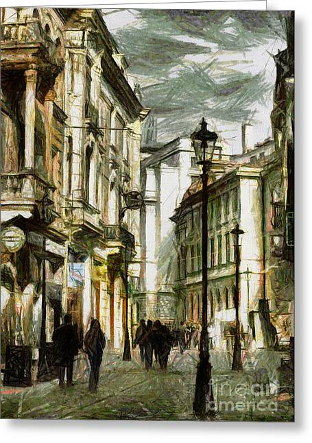 City Life Pastels Greeting Cards - Street life in Bucharest Romania - Painting Greeting Card by Daliana Pacuraru
