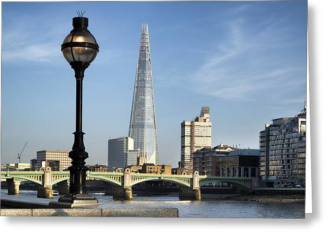 Street Light and Shard Greeting Card by Matthew Gibson