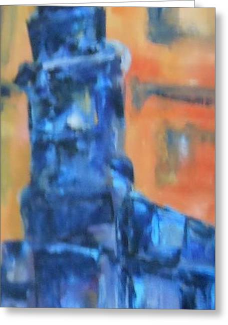 Blue Green Wave Greeting Cards - Street Light Greeting Card by Frederick Lyle Morris