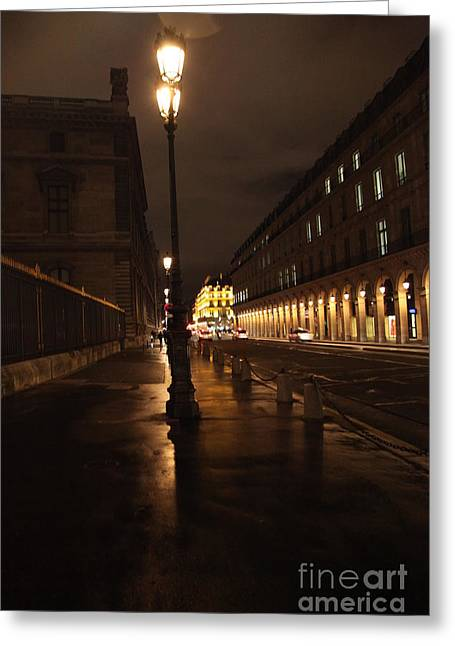 Street Pyrography Greeting Cards - Street Light in Paris  Greeting Card by JM Roy