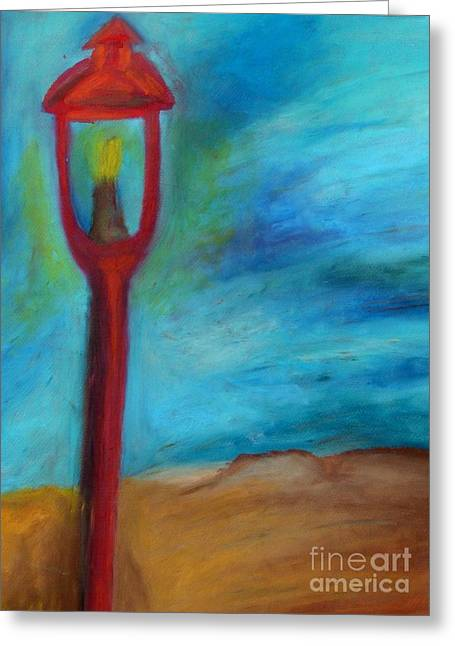 Landscape Framed Prints Pastels Greeting Cards - Street Light Greeting Card by Jon Kittleson