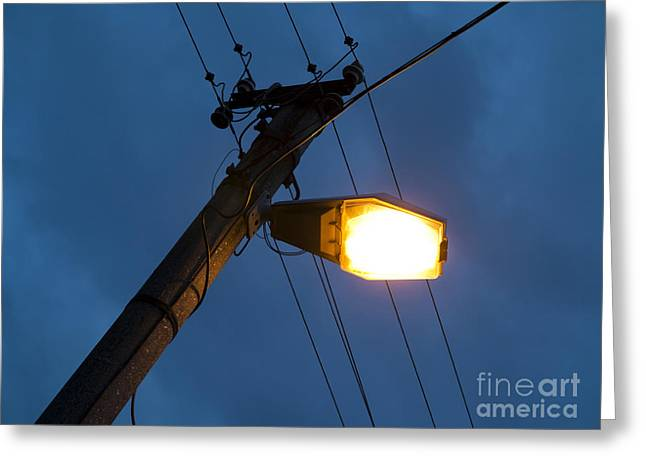 Gloaming Greeting Cards - Street Lighting Greeting Card by Michal Boubin
