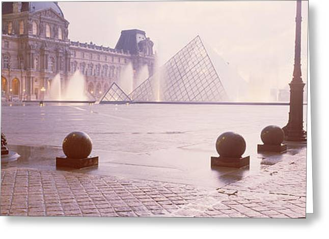 Sidewalks. Arches Greeting Cards - Street Lights Lit Up At Dawn, Louvre Greeting Card by Panoramic Images