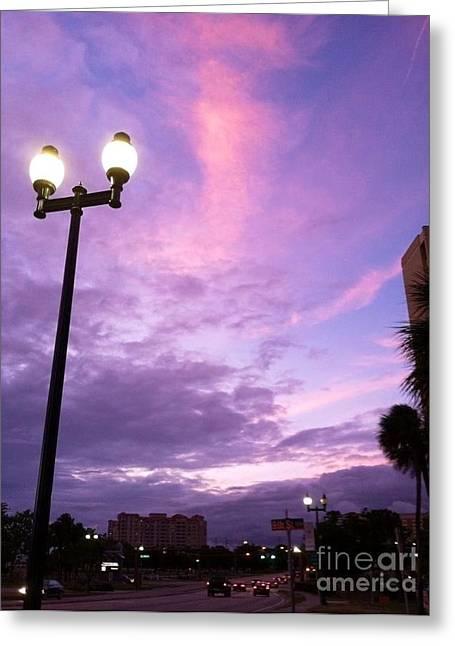 Paradise Road Greeting Cards - Street Lights Greeting Card by Melissa Darnell Glowacki