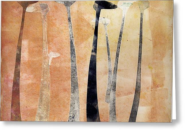 Earth Tones Reliefs Greeting Cards - Street Lights Greeting Card by Theresa Khong