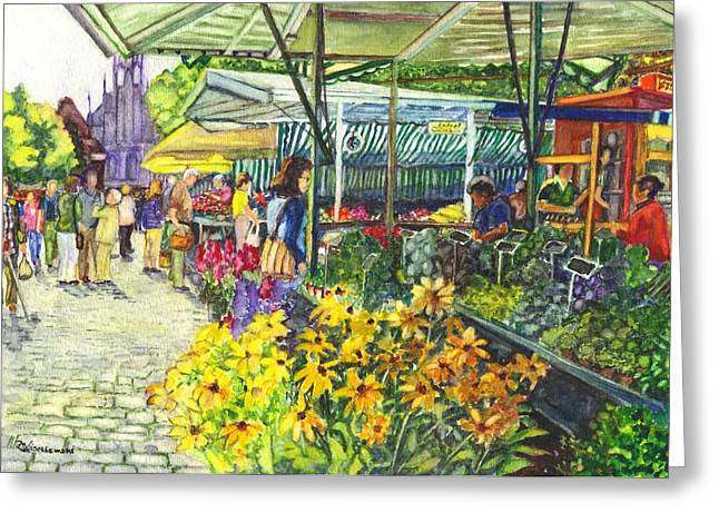 Sidewalk Drawings Greeting Cards - Watercolor Munster Germany Street Market  Greeting Card by Carol Wisniewski
