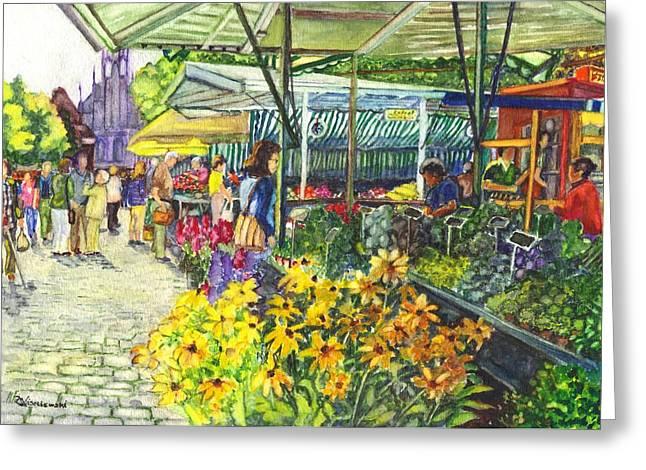 Farm Stand Greeting Cards - Watercolor Munster Germany Street Market  Greeting Card by Carol Wisniewski