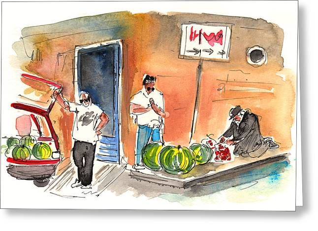 Melon Drawings Greeting Cards - Street Merchants in Siracusa Greeting Card by Miki De Goodaboom