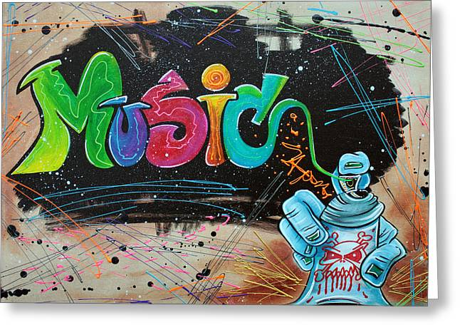 Hiphop Greeting Cards - Street Music Greeting Card by Laura Barbosa