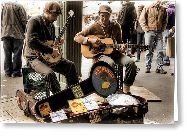 Iconic Guitars Greeting Cards - Street Music Greeting Card by Spencer McDonald