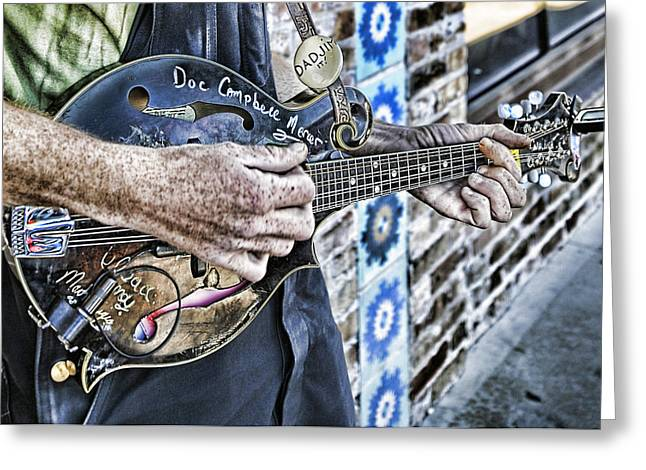 South Congress Greeting Cards - Street Musician 3. Dadjim it Greeting Card by Wildcat Studios