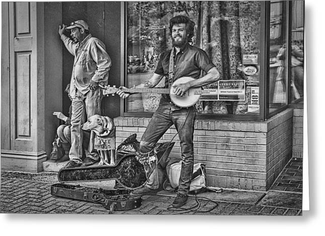 D.w. Greeting Cards - Street Musician Busker Greeting Card by Randall Nyhof