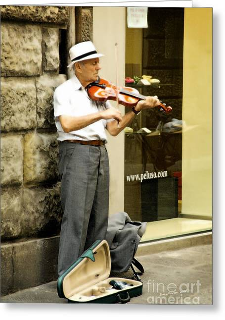 Street Musicians Greeting Cards - Street Musician Greeting Card by Jim  Calarese