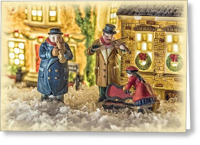 Snow Scenes Greeting Cards - Street Musicians Greeting Card by Caitlyn  Grasso