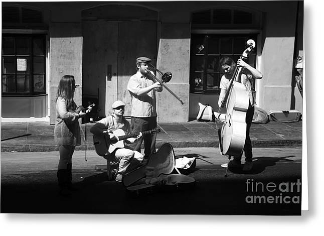 Street Performers Greeting Cards - Street Musicians infrared Greeting Card by John Rizzuto